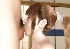 Simmering 3D anime newborn swallows cum
