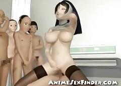 3D Nun Gangbanged!