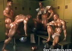 3D Muscled Gays Adulate Cum!