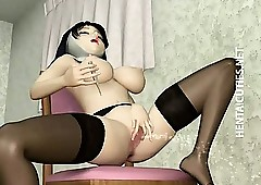 3D hentai nun close by stockings dildo..