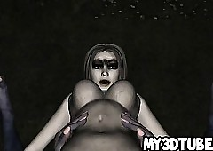 Hot 3D zombie babe in arms object..